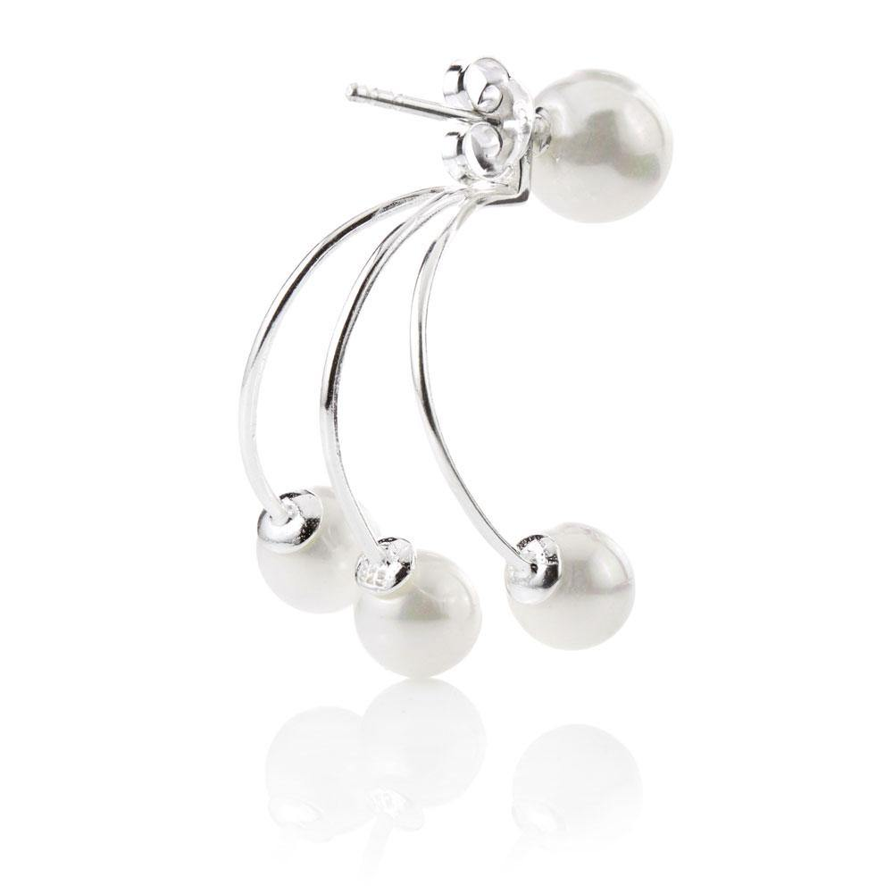 Pearl Ear Sterling Silver Studs with Pearl Jacket