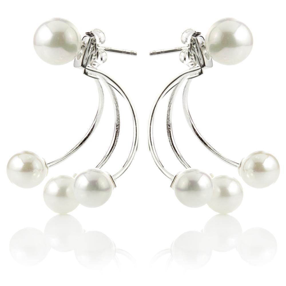 Sterling Silver Pearl Ear Studs with Pearl Jacket