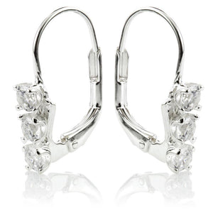 Sterling Silver Triple Gem Drop Earrings