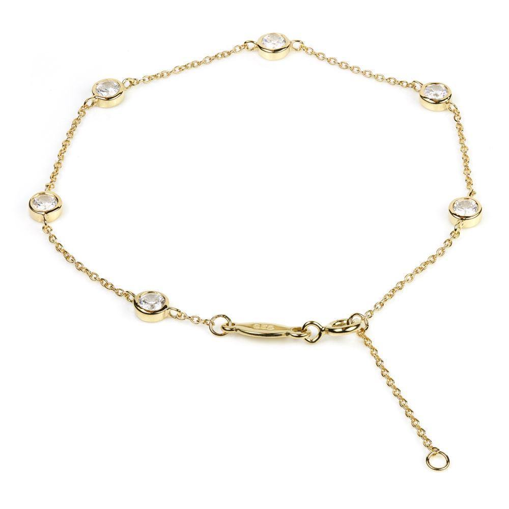 Gold Vermeil Bracelet with Crystal Chelsea Chain