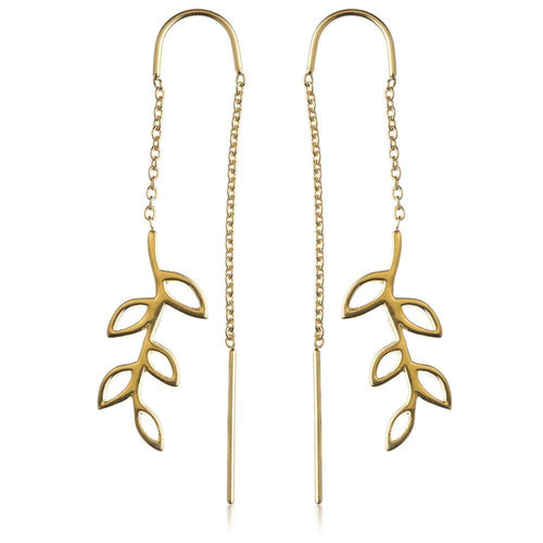 Gold Vermeil Large Leaf Threader Earrings
