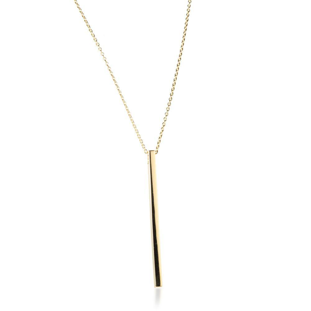 Gold Vermeil Bar Pendant Necklace