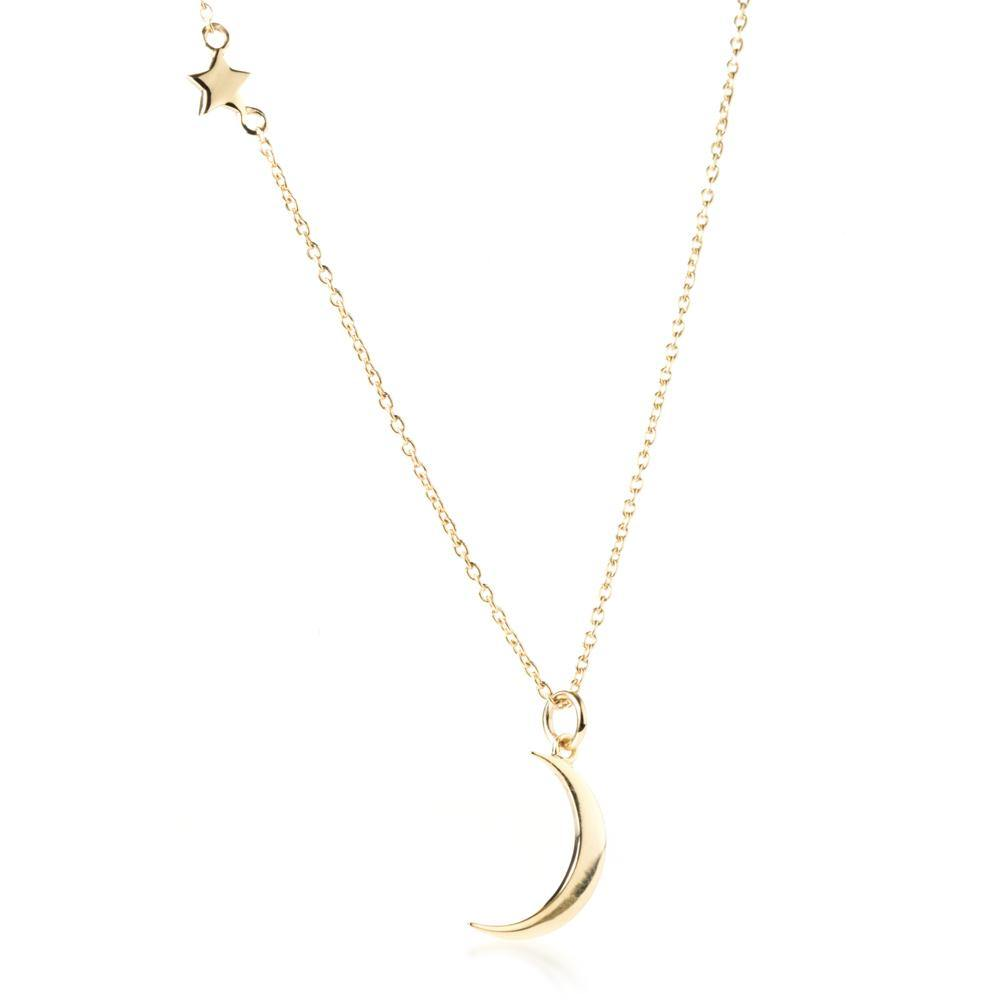 Gold Vermeil Moon & Star Pendant Necklace