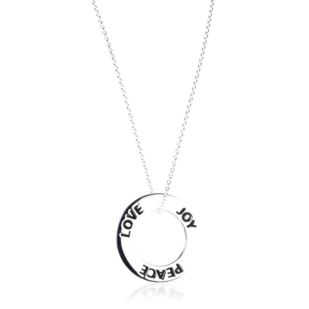 Sterling Silver Love - Joy - Peace Pendant Necklace