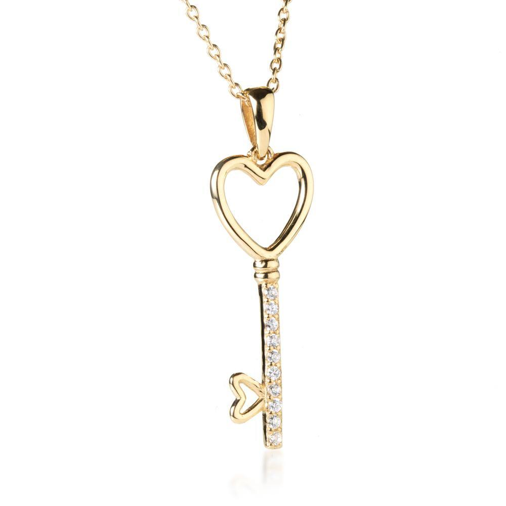 Gold Vermeil Crystal Key 2 My Heart Necklace
