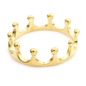 Gold Steel Crown Ring