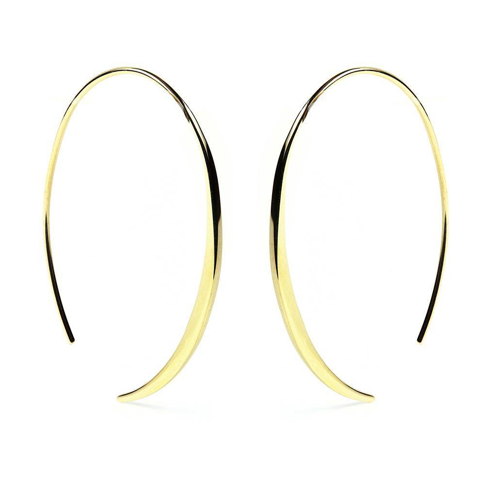 Gold Vermeil Oval Pull Through Earrings