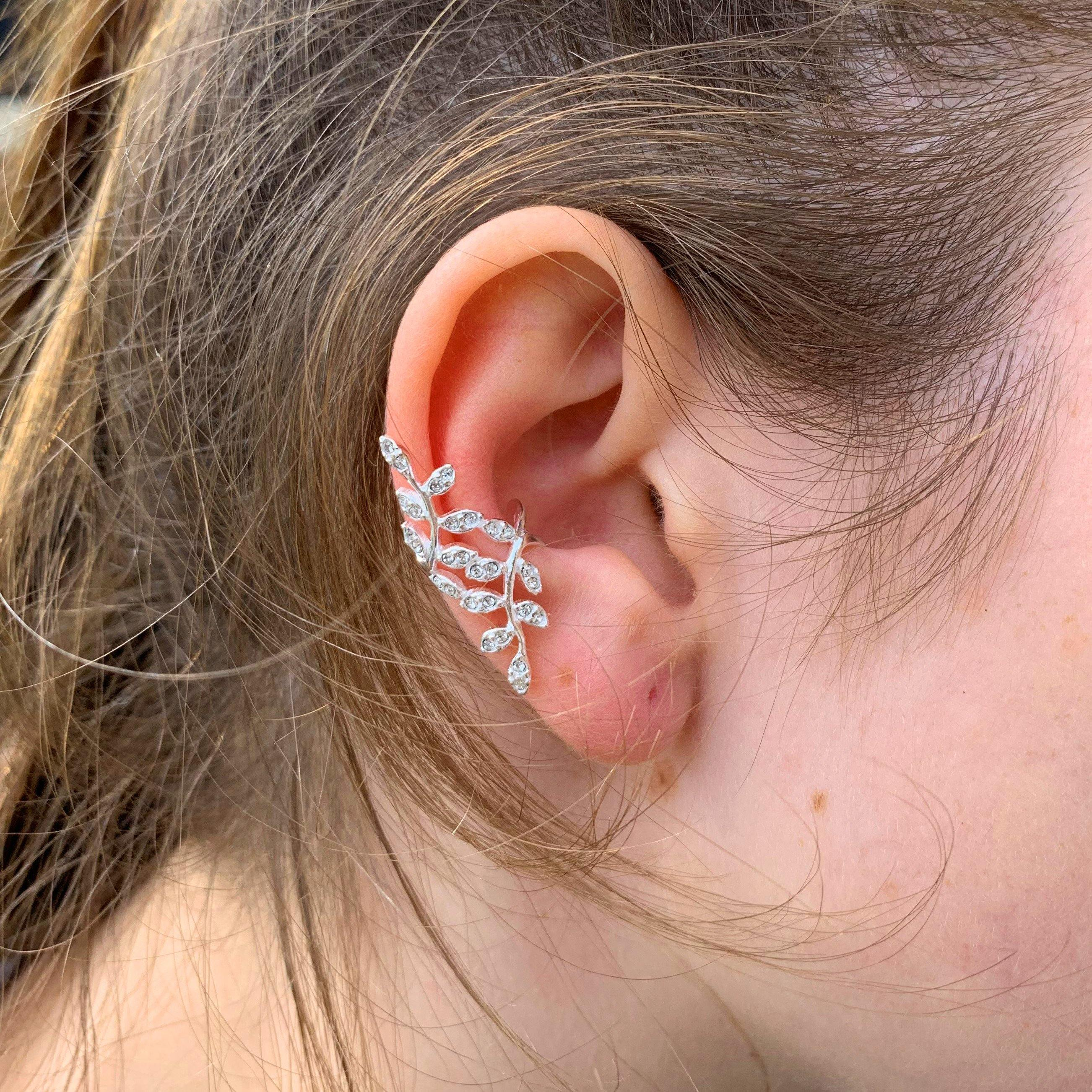 Jewel Twisted Ash Leaf Ear Cuff