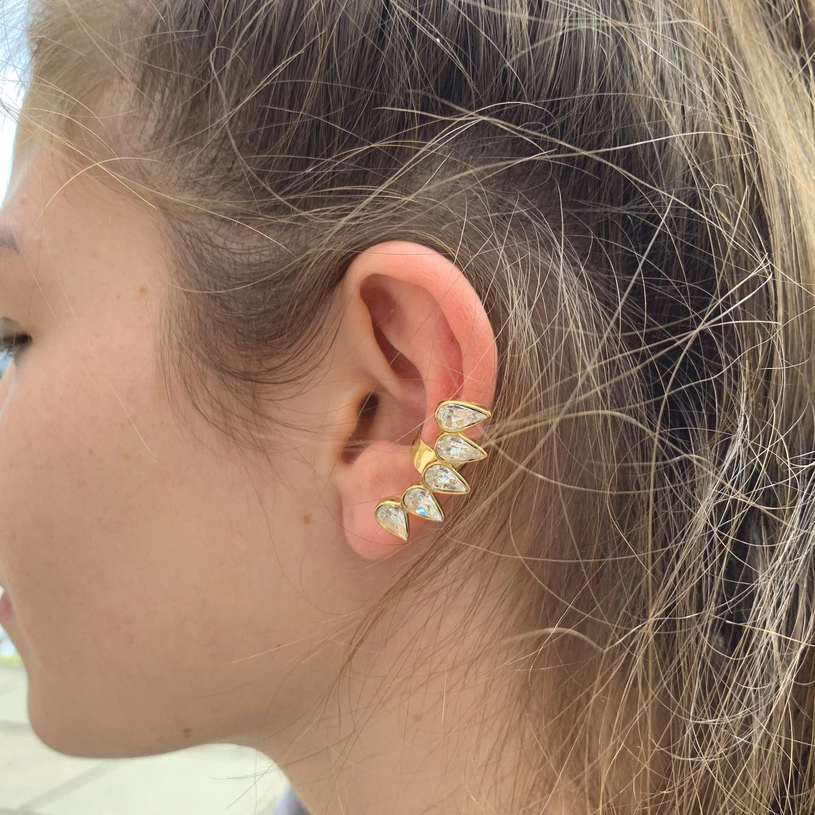 Gold Vermeil Multiple Tear Ear Cuff