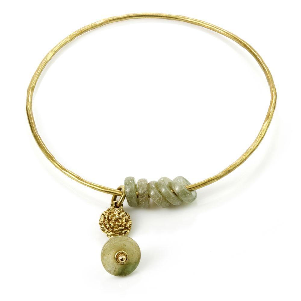 Venus Brass Jade Stone Charm Bangle