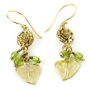 Brass Charm Drop Earrings with Peridot