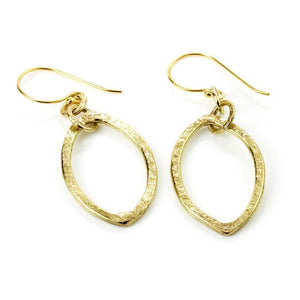 Venus Hammered Brass Pointed Oval Drop Earrings