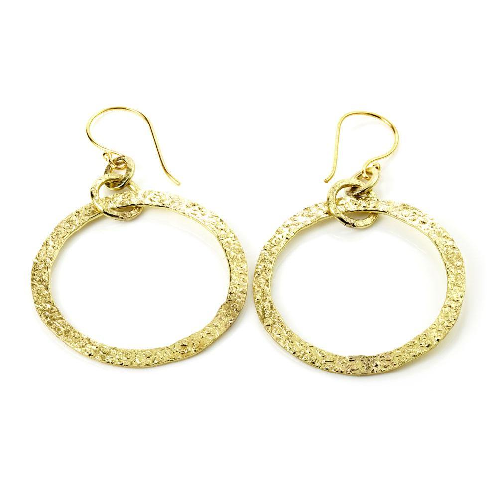 Hammered Brass Large Open Circle Drop Earrings
