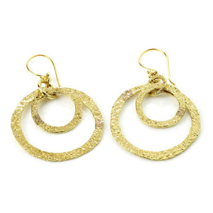 Venus Hammered Brass Double Circle Drop Earrings
