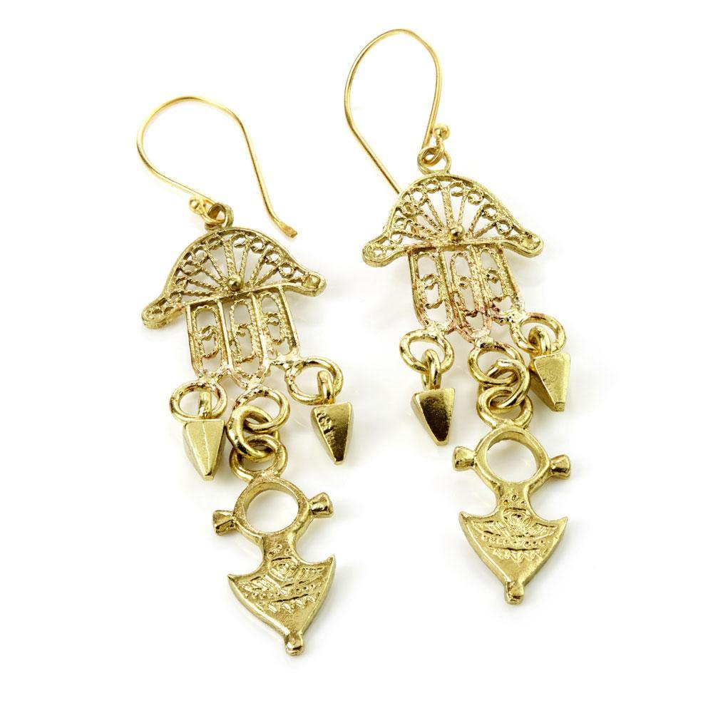 Venus Brass Hamsa Hand Drop Earrings
