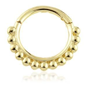 Open image in slideshow, Solid Gold Daith Ring with Ball Pattern
