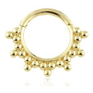 Open image in slideshow, 9ct Gold Daith Ring with Trinity Ball Pattern