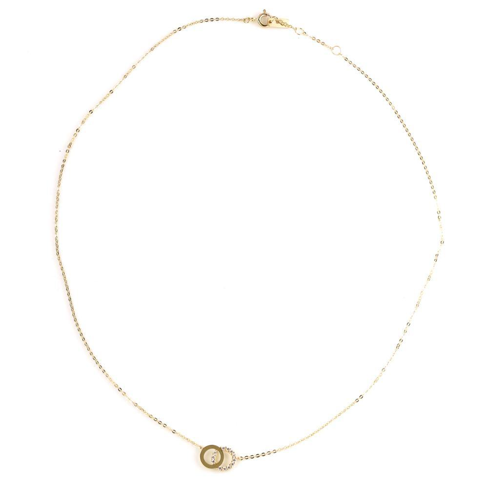9ct Gold Double Circle Choker Necklace