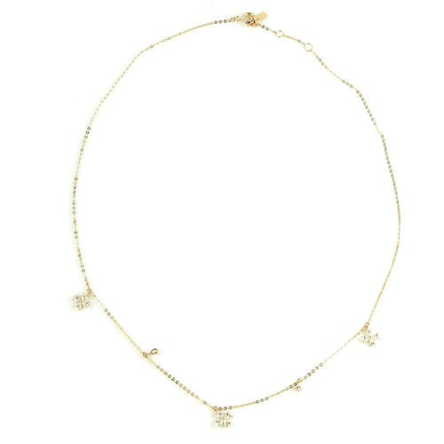 9ct Gold Chain Crystal Flowers Charm Choker Necklace