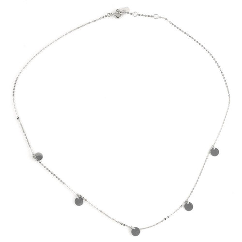 9ct White Gold Dainty Circle Charm Choker Necklace
