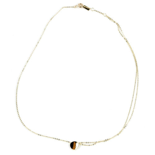 9ct Gold Curved Flat Disc with Crystal Choker Necklace