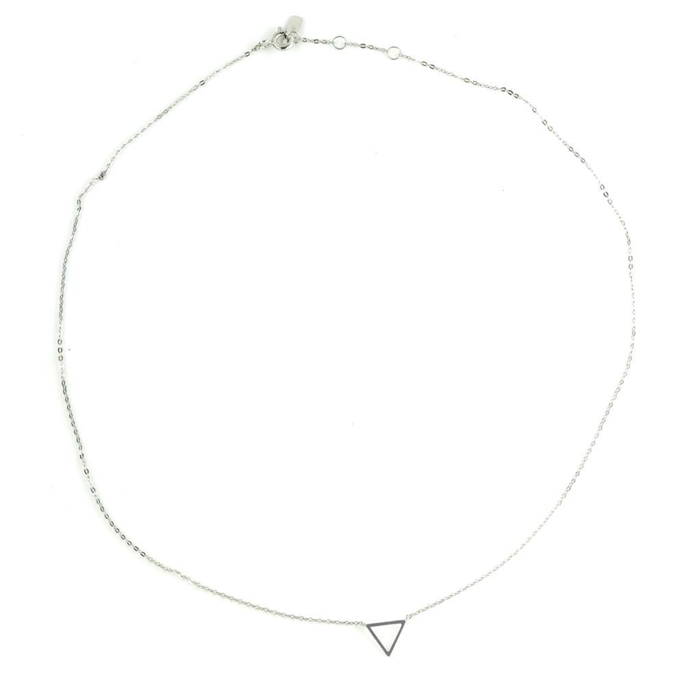 9ct White Gold Single Triangle Choker Necklace