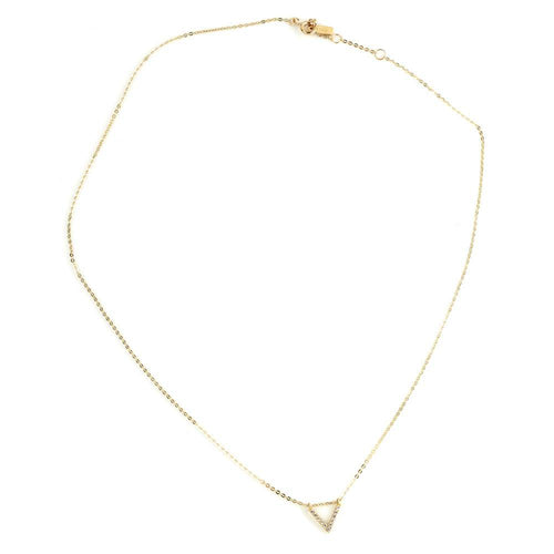 9ct Gold Crystal V Pendant Choker Necklace