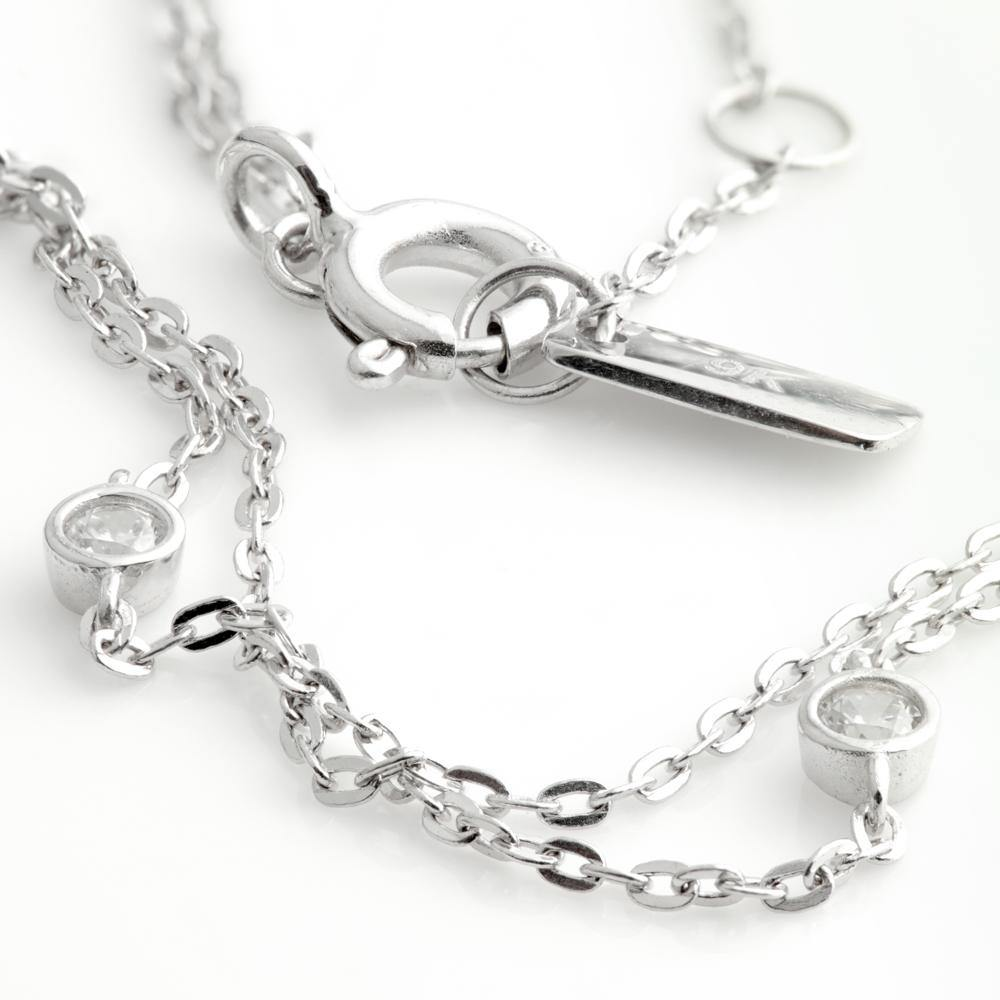 Tiny CZ Gem Double Chain Choker in 9ct White Gold
