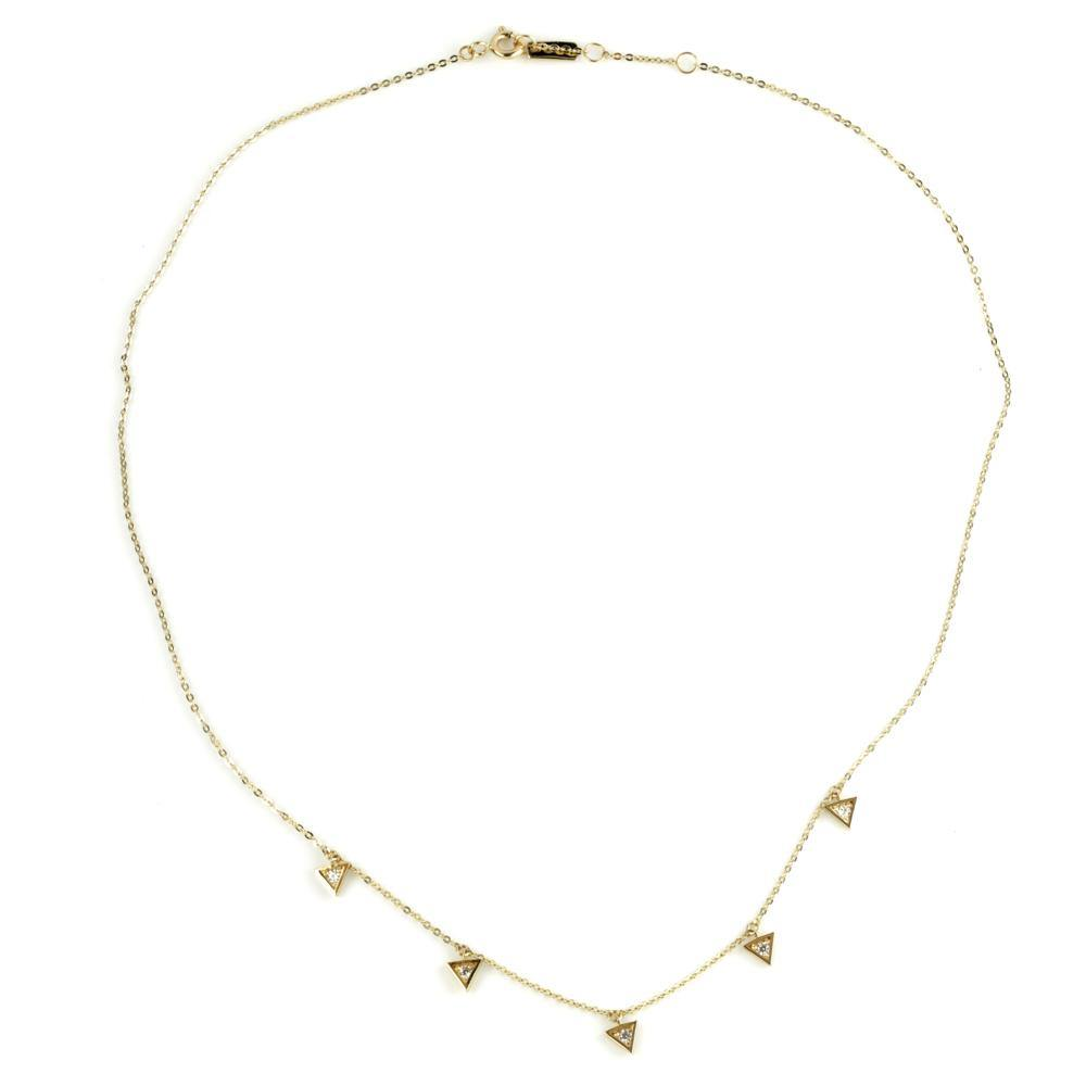9ct Gold Crystal Triangle Charm Choker Necklace