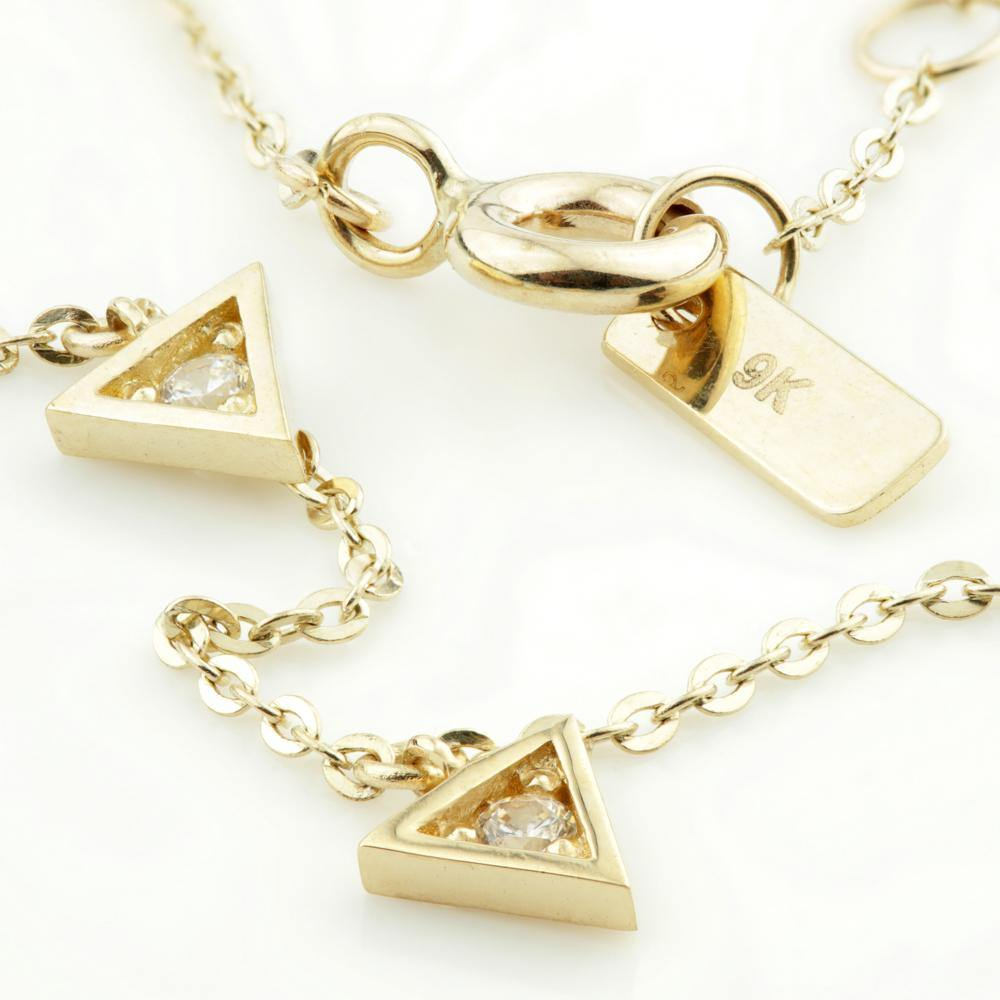 Tiny Crystal Triangle Choker Necklace in 9ct Gold