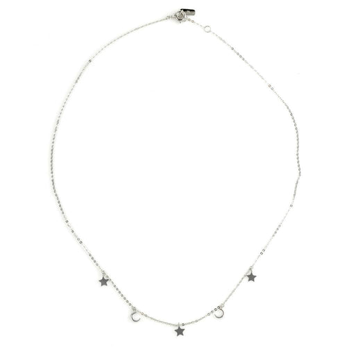 9ct White Gold Dainty Moon & Star Charm Choker Necklace