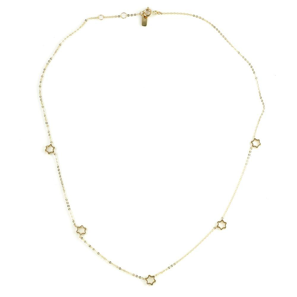 9ct Gold Dainty Open Star Charm Choker Necklace