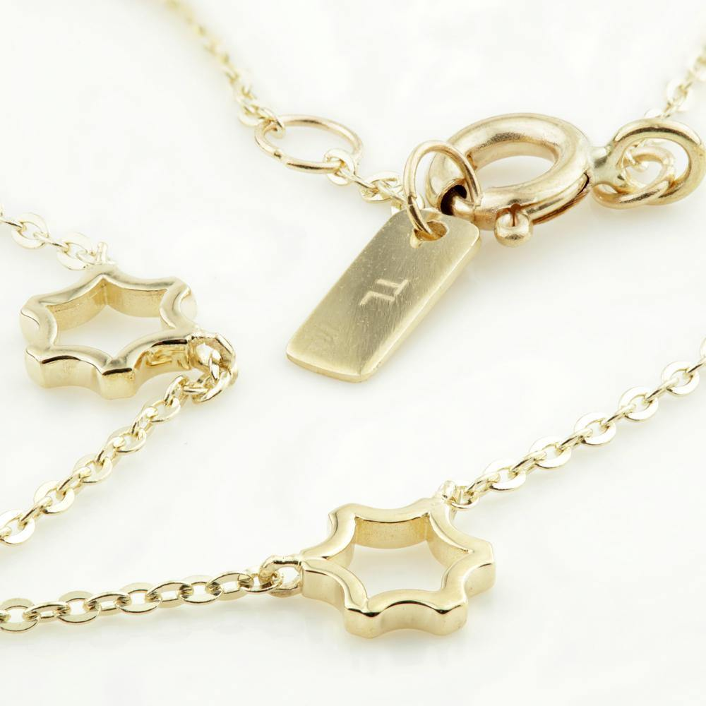 Tiny Open Star Charm Choker Necklace in 9ct Gold