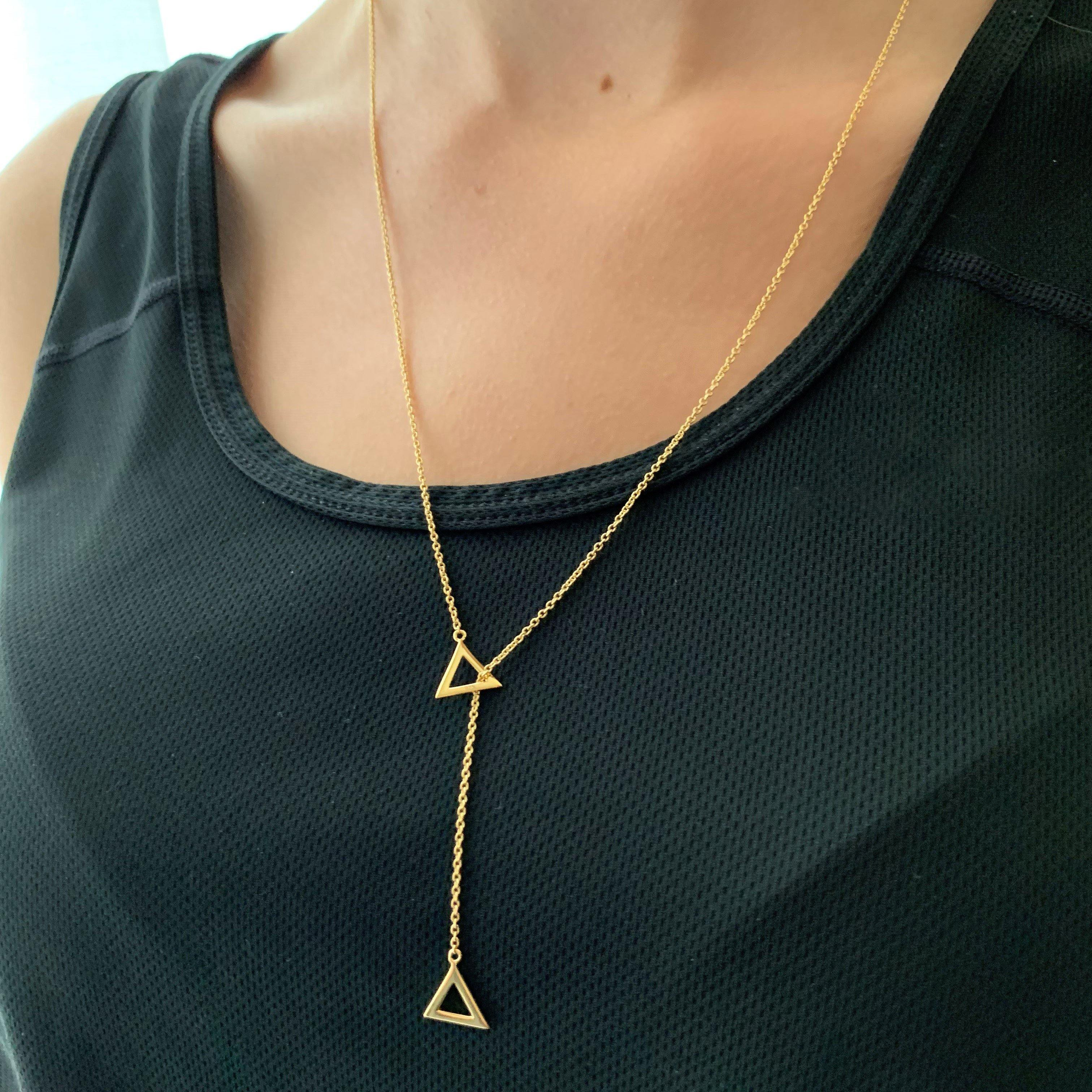 Gold Triangle Lariat Necklace