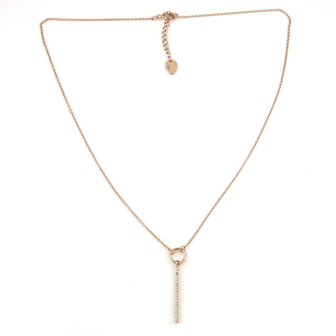 Rose Gold Crystal Bar Pendant Necklace