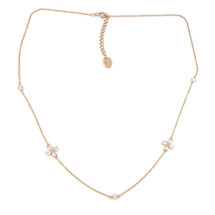 Rose Gold Crystal Flowers & Gems Choker Necklace