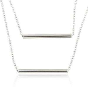 Steel Bar Double Chain Layered Necklace