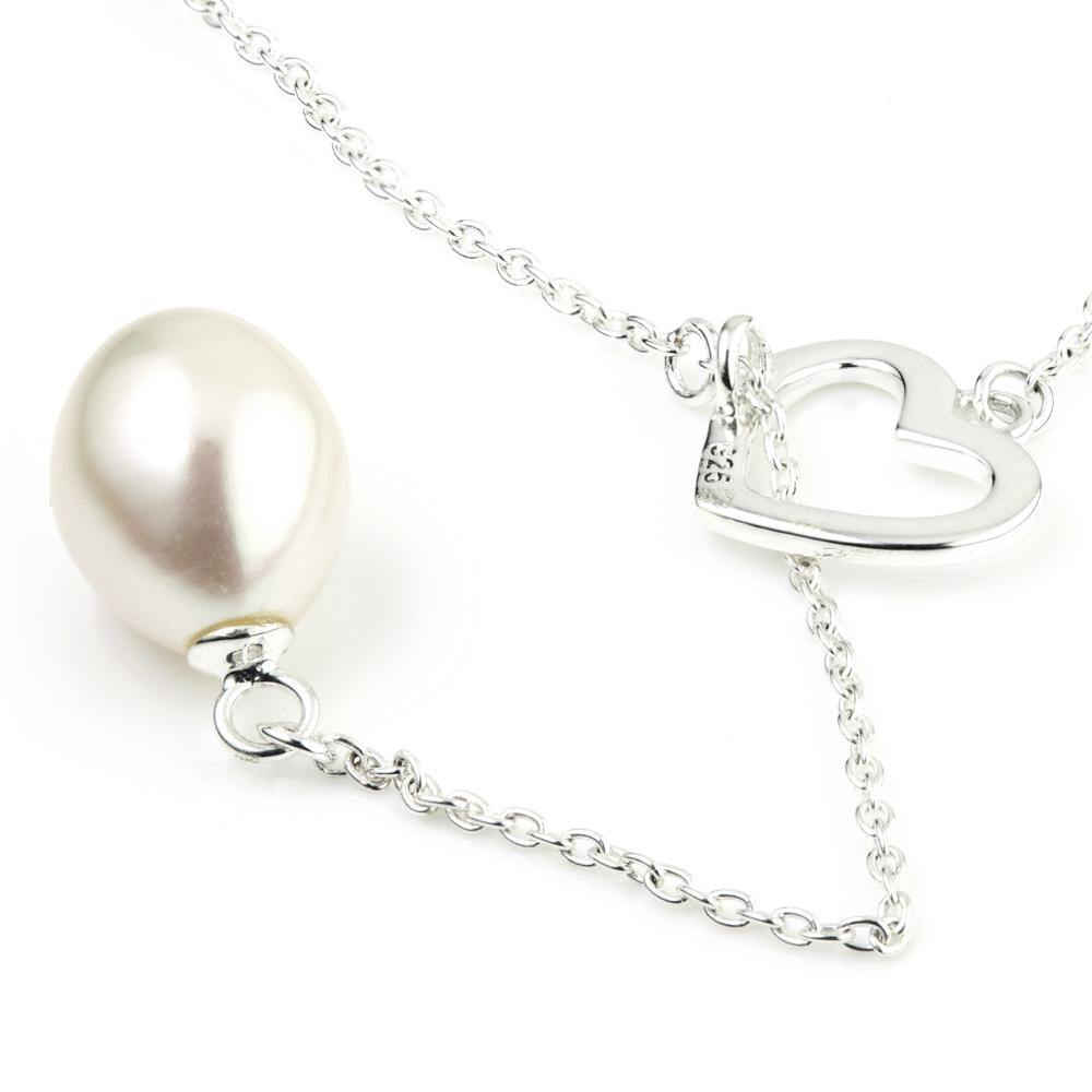 Thread-Through Pearl & Silver Open Heart