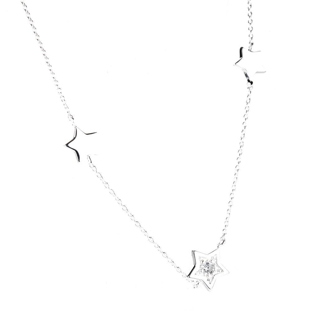 Sterling Silver Crystal Star Chain Choker Necklace
