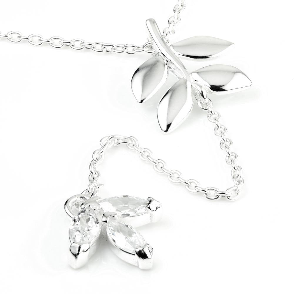 Sterling Silver Crystal Flower Lariat Necklace