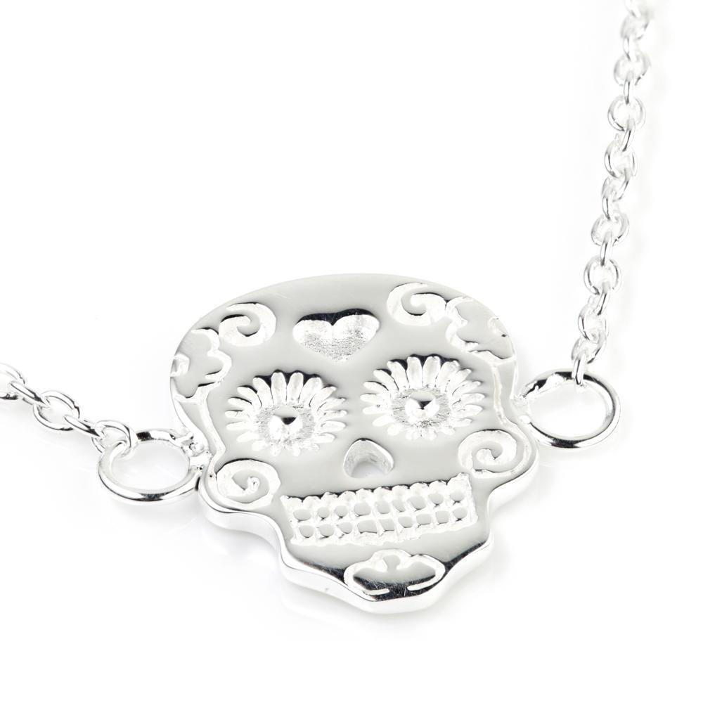 Steel Sugar Skull Necklace