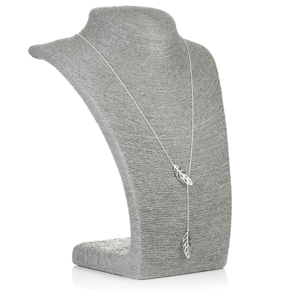 Sterling Silver Thread Through Leaf Lariat Necklace