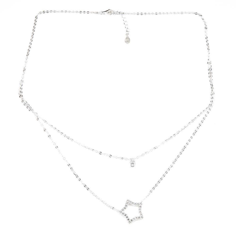 Sterling Silver Crystal Star & Gem Layered Necklace