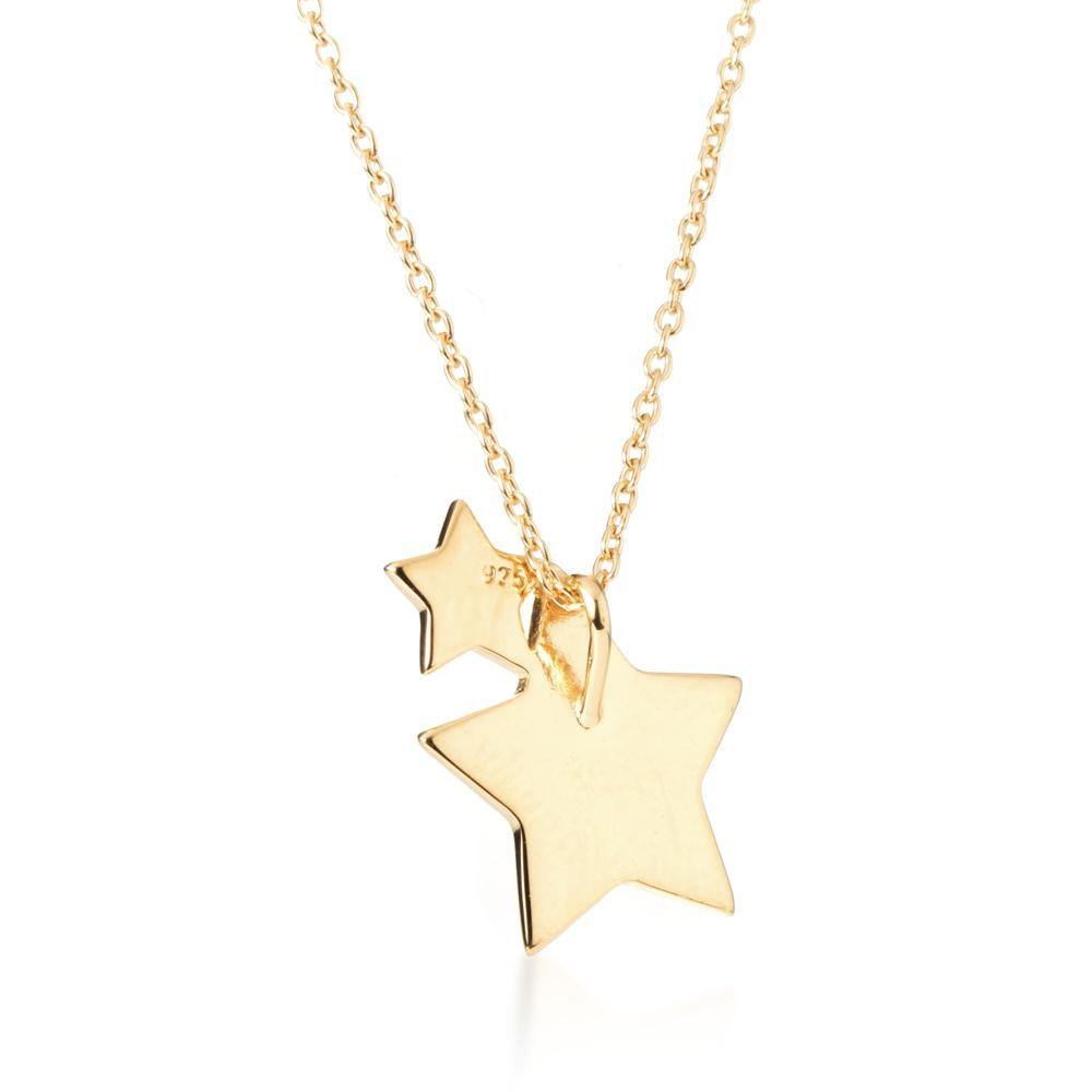 Gold Vermeil Double Star Pendant Necklace