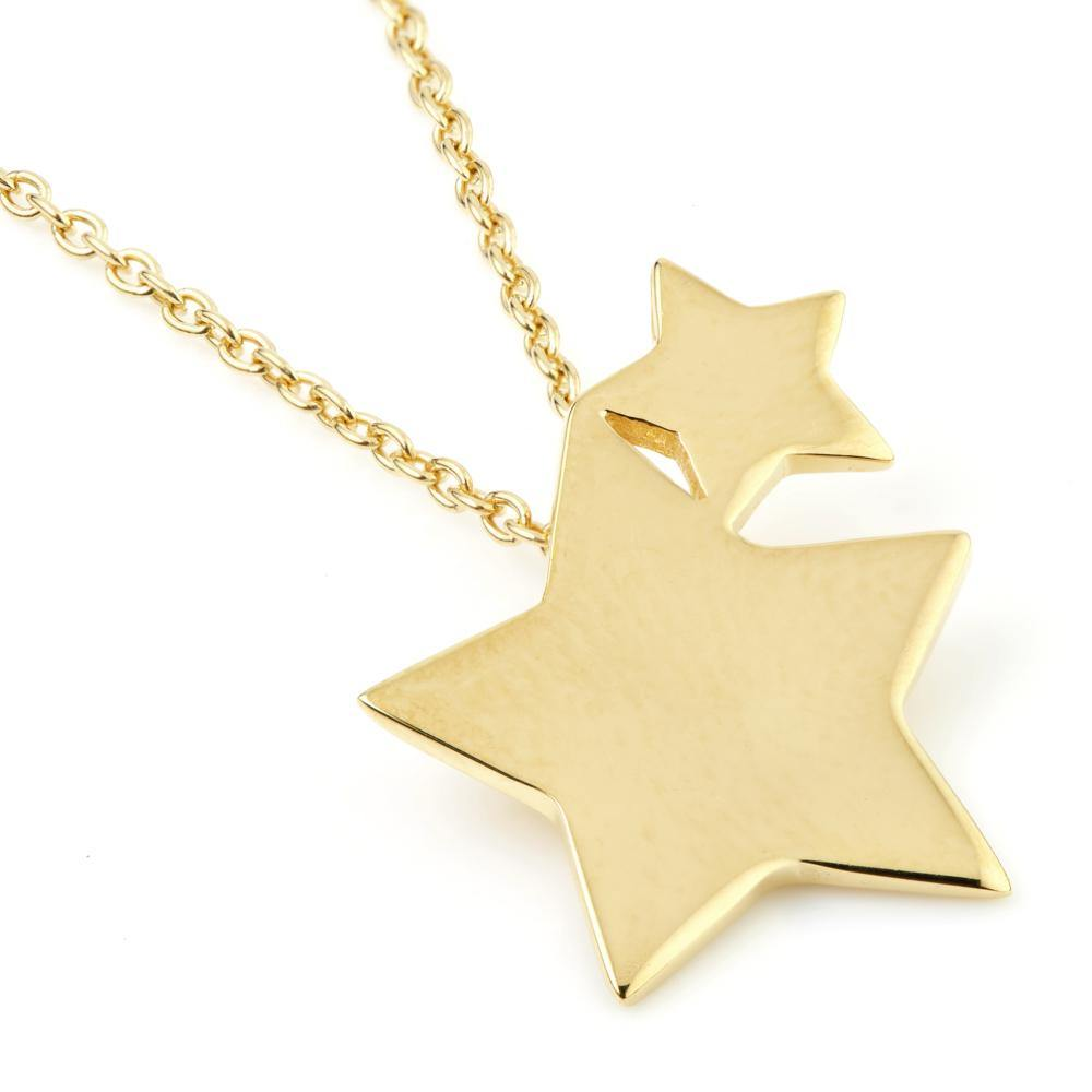 Gold Double Star Pendant