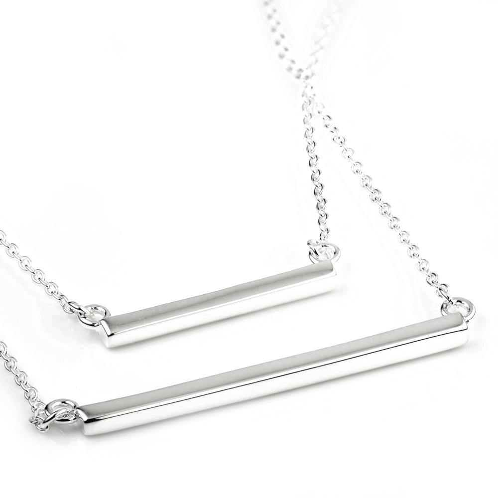 Sterling Silver Double Bar Layered Necklace