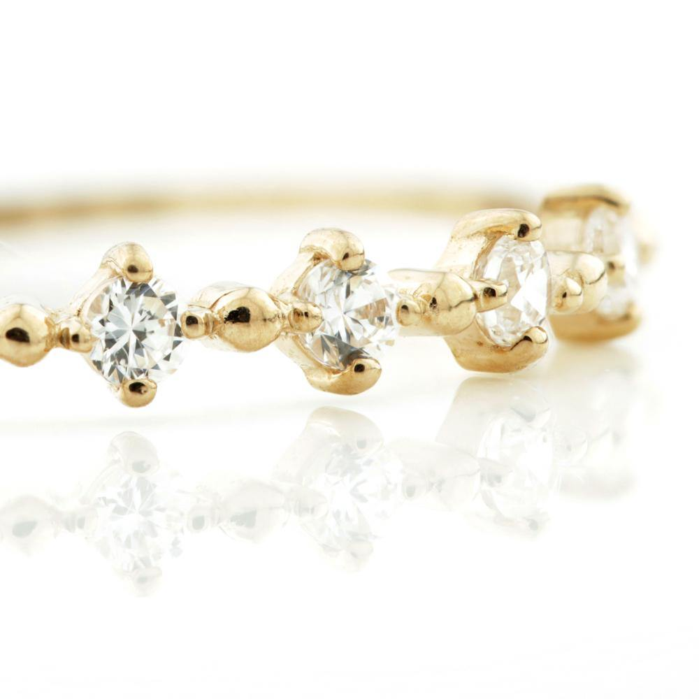 6x CZ Crystals on a 9ct Rose Gold Stackable Ring