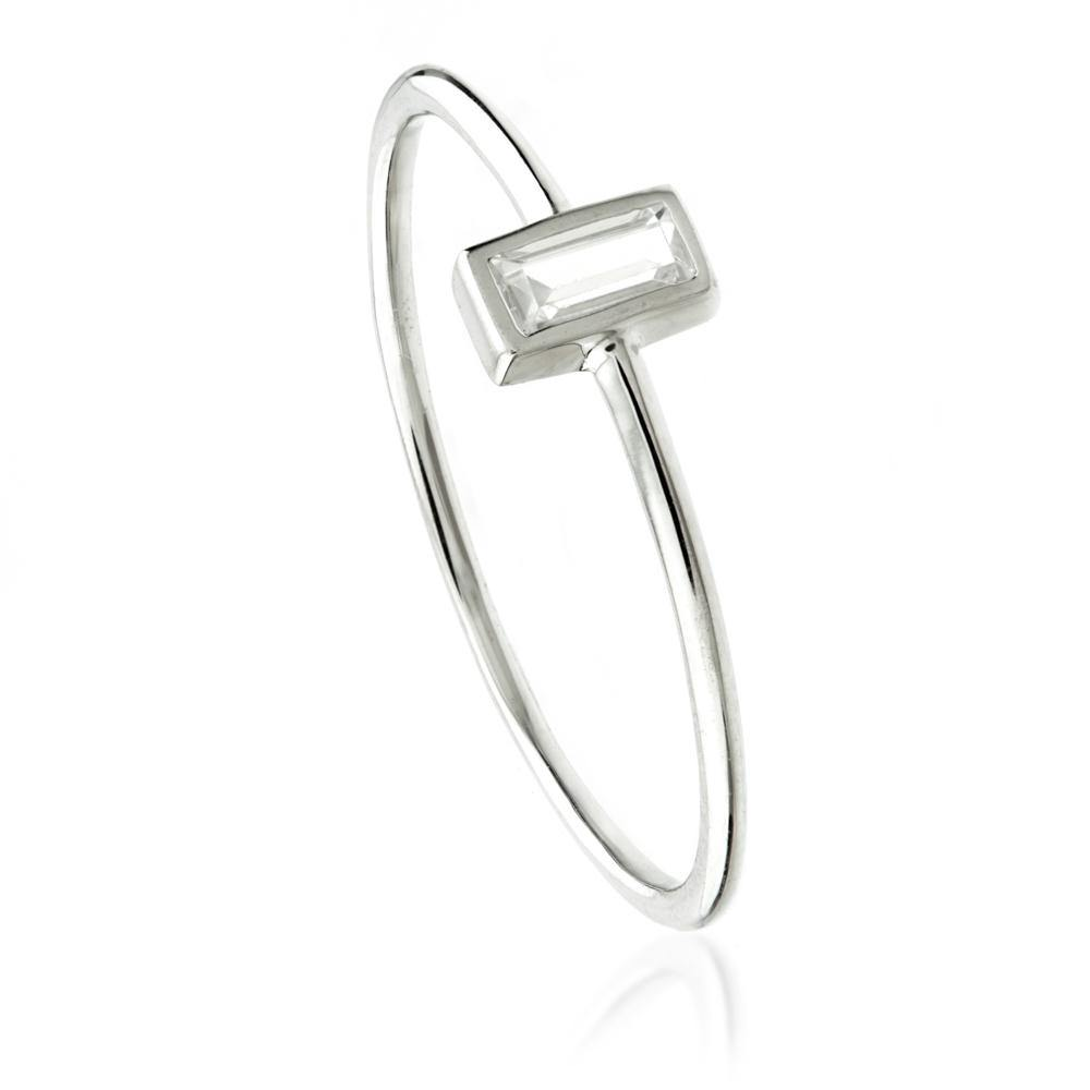 9ct White Gold Crystal Rectangle Ring
