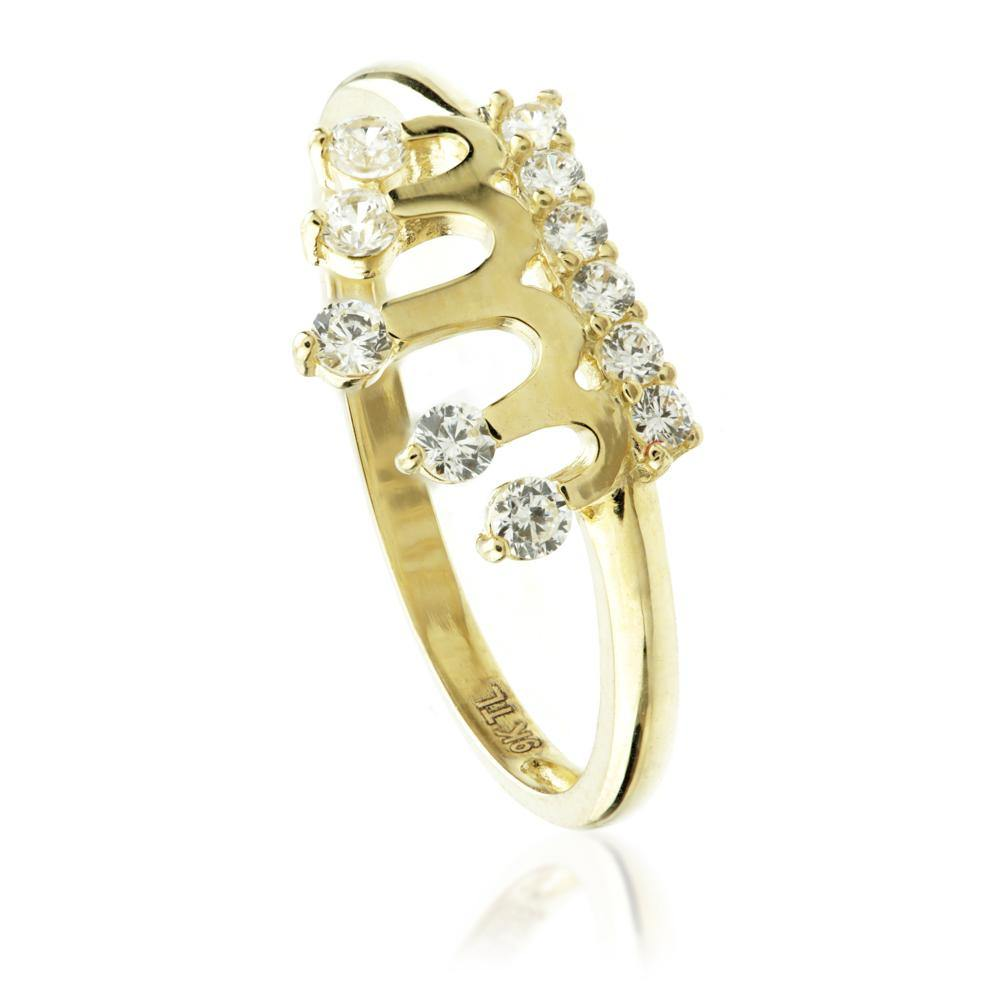 9ct Gold Crown Ring with Crystals