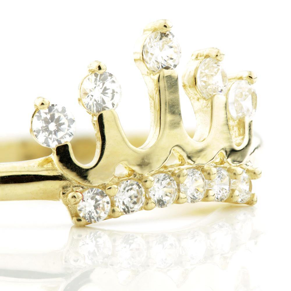 9ct Gold Crown with tiny CZ crystals